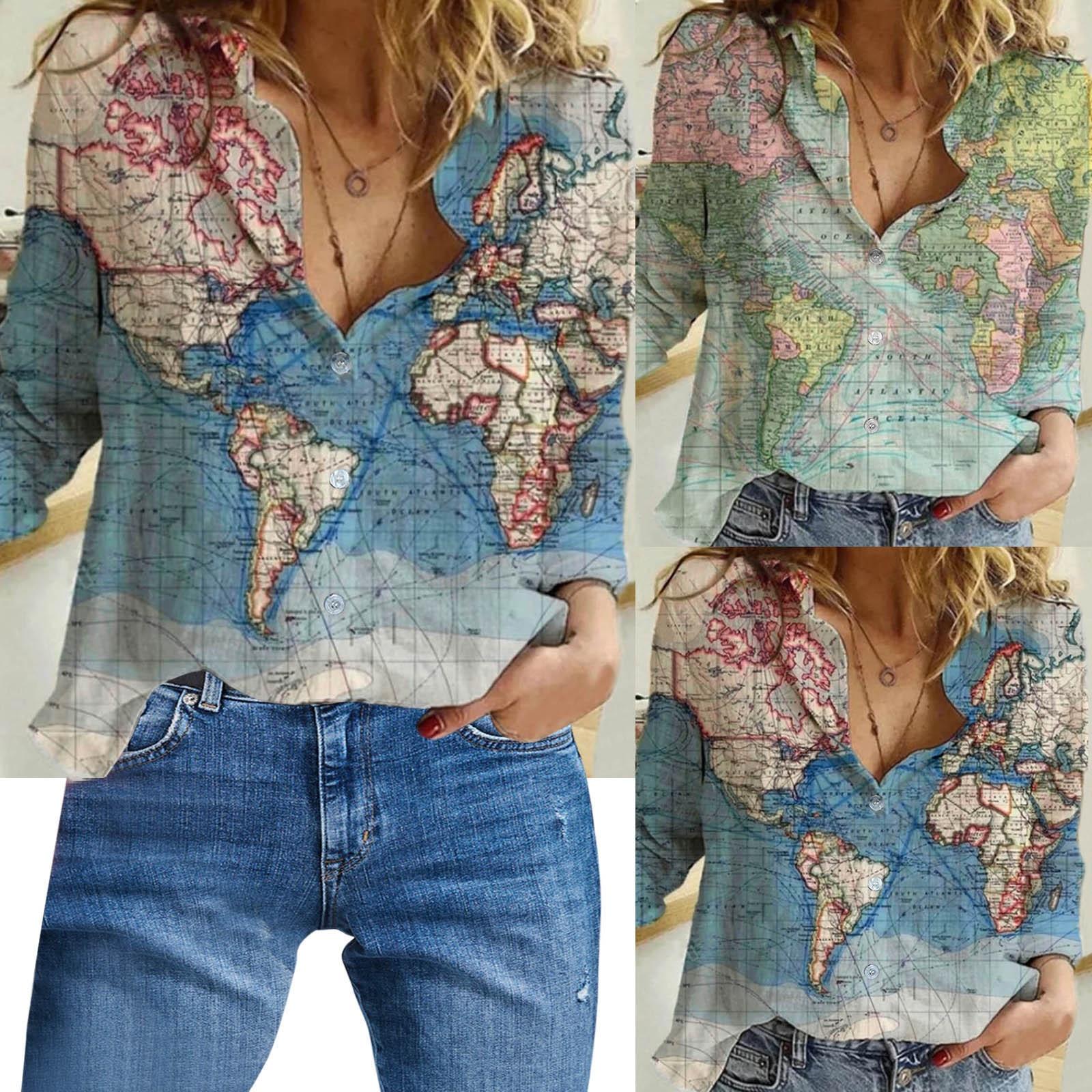 Iti place sa calatoresti dar ce zici de o camasa cu harta lumii care sa te insoteasca peste tot?