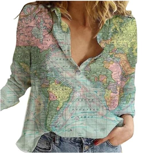 -53% Cămașă dama oversize femei cu mânecă lungă Imprimeu Harta Lumii 2
