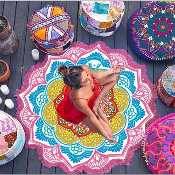Covoras de yoga/plaja rotund forma Mandala Bohemian