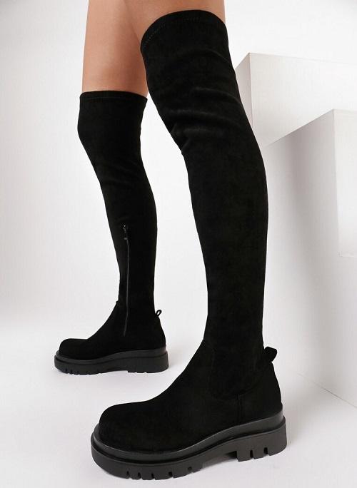 Cizme lungi peste genunchi tip bocanci piele eco intoarsa neagra
