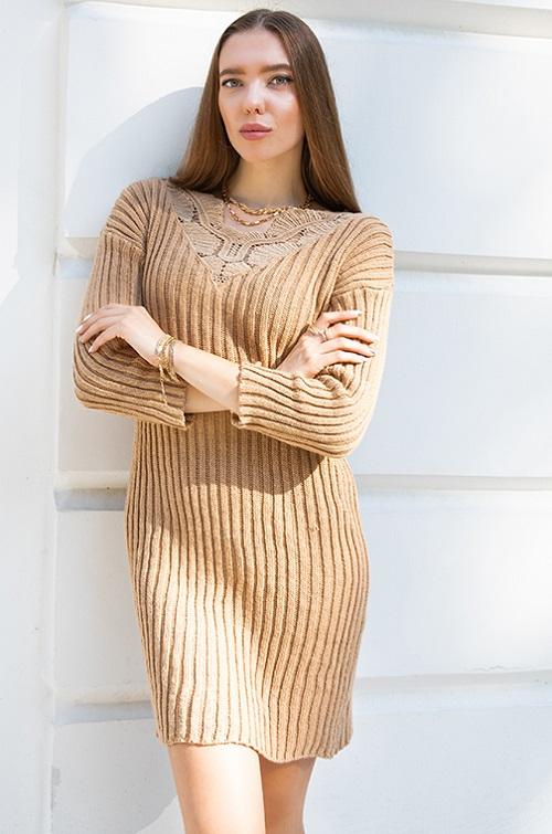 Rochie pulover cu dantela Bej