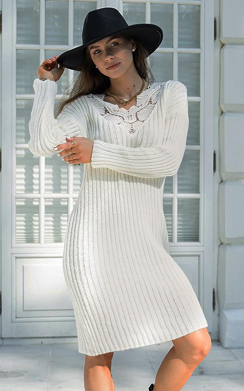 Rochie tricotata midi cu dantela Alba