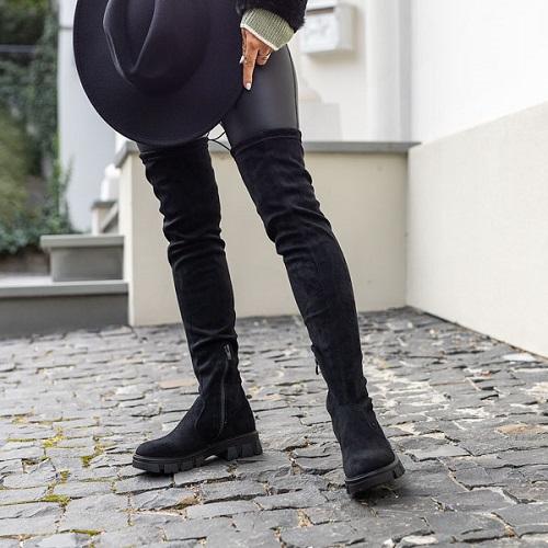 Cizme dama deasupra genunchiului piele eco Negre Engi