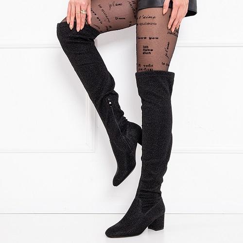 Cizme dama lungi peste genunchi negre cu sclipici Wiqu