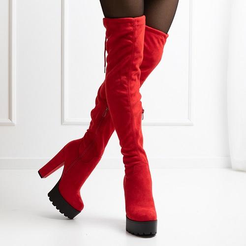 Cizme dama lungi peste genunchi piele eco Rosii