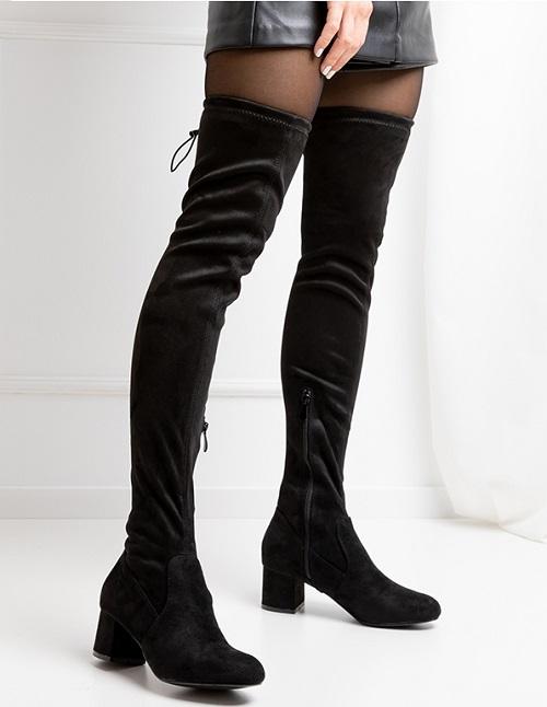 Cizme deasupra genunchiului cu toc din piele de caprioara Khalo Negre