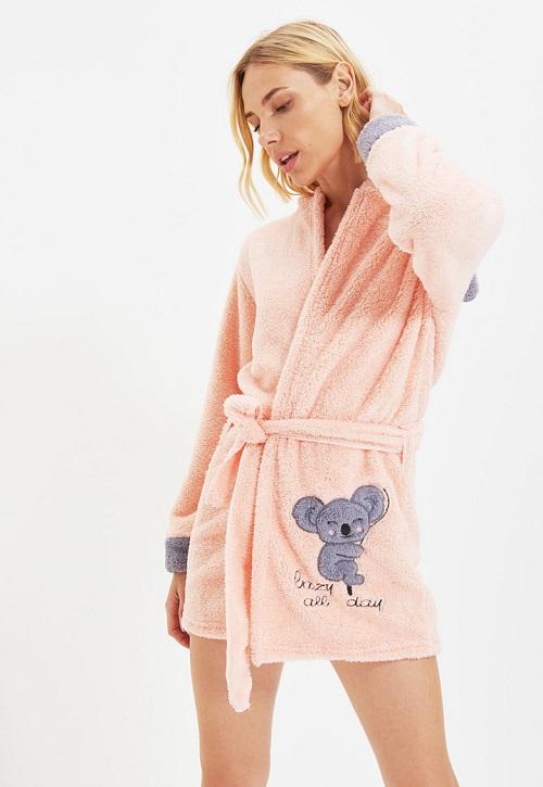 Halat de baie cu gluga pufos si urs Koala