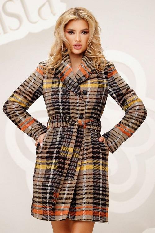 Palton dama matlasat cu cordon in carouri Artista