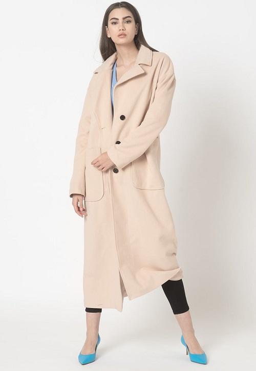 Palton lung cu buzunare supradimensionate