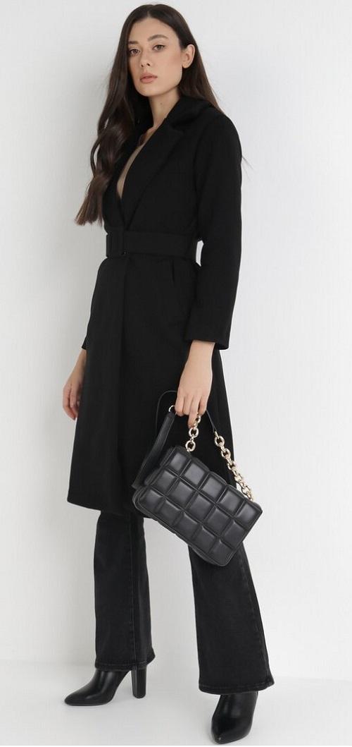 Palton dama lung elegant cu cordon in talie Negru
