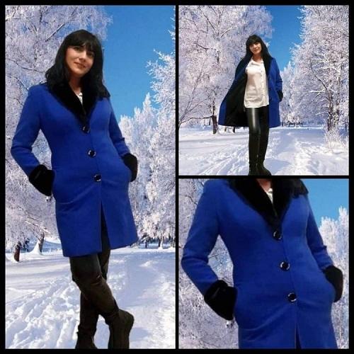 Palton dama cu rever si blanita Albastru